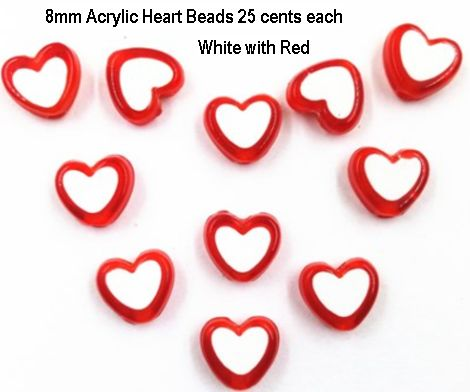 8mm Red White Hearts